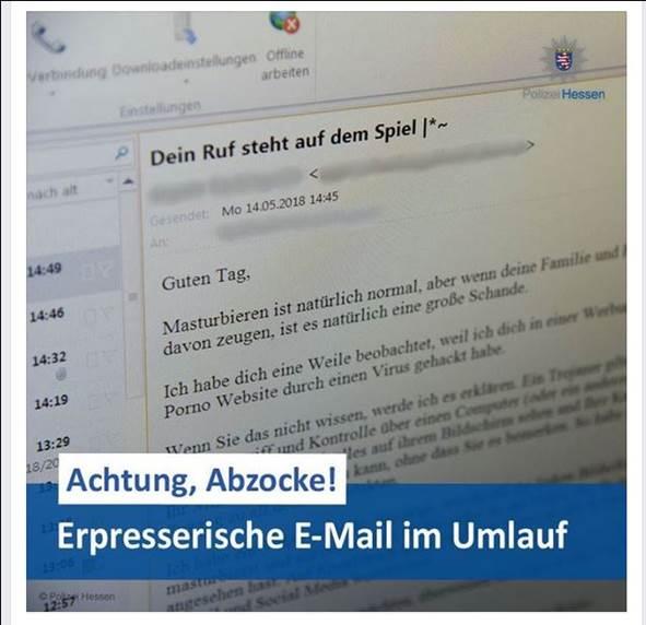 Die Polizei gibt Tipps wie man sich verhalten soll wenn man erpresserische Emails erhalten hat. Foto: LKA Hessen