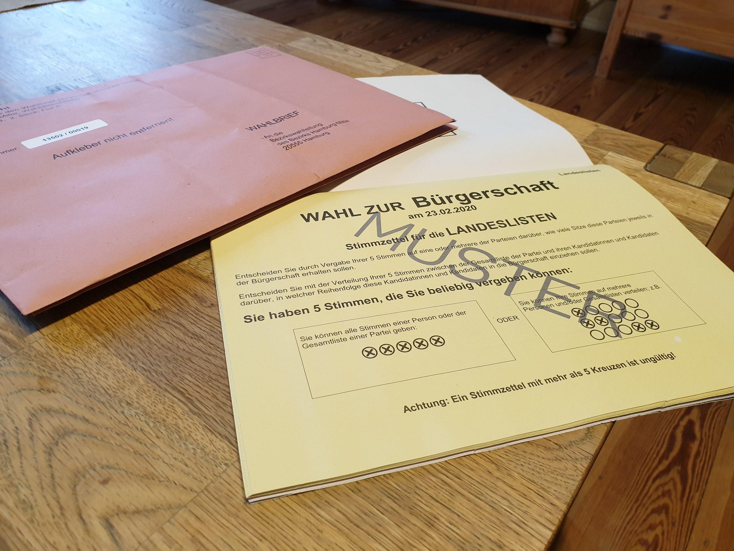 Bereits mit der amtlichen Wahlbenachrichtigung haben die wahlberechtigten Hamburgerinnen und Hamburger Musterstimmzettel zugeschickt bekommen um sich zu informieren. Foto: au