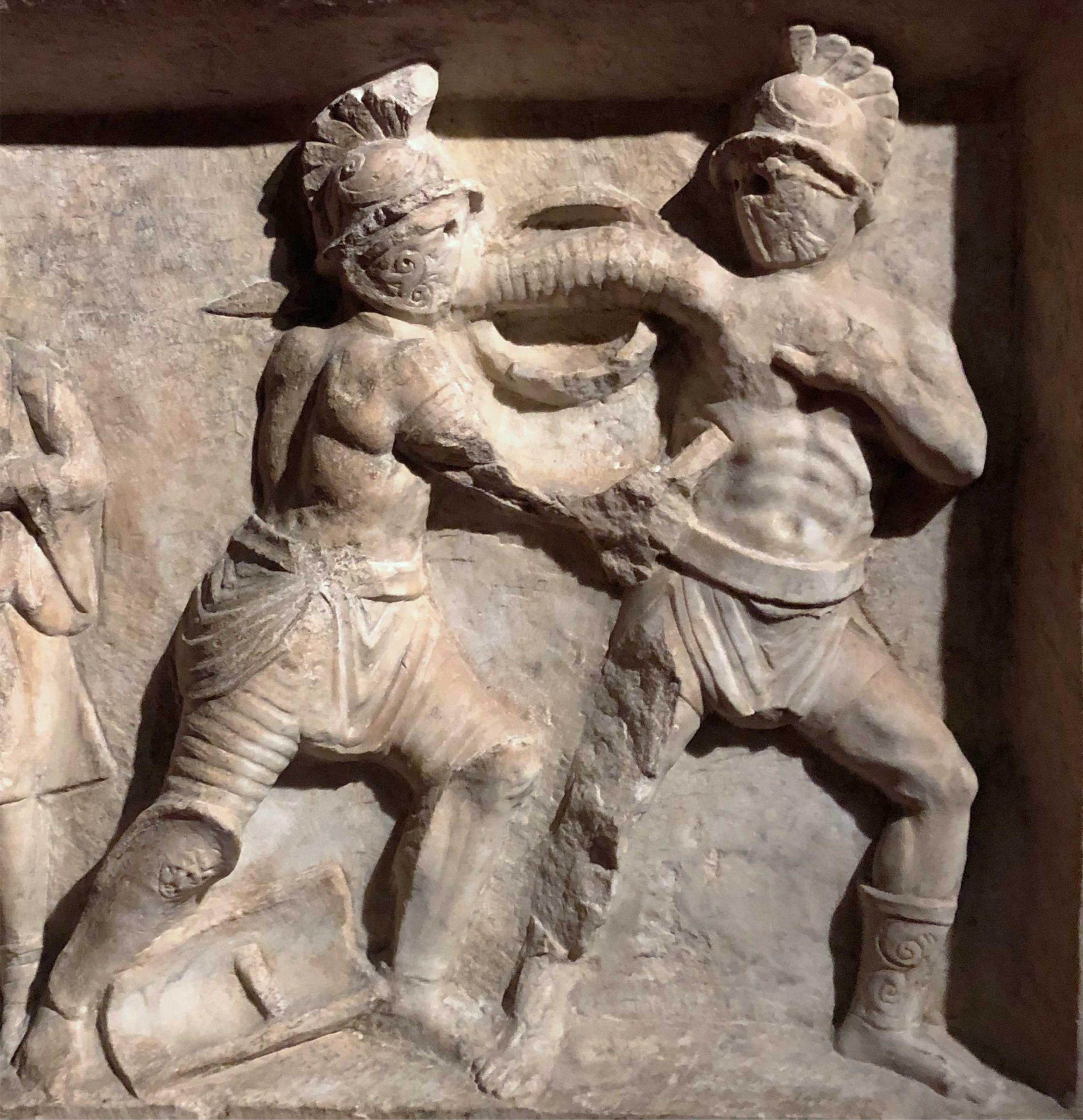 Arch. Museum Harburg -Gladiatorenkämpge: Relief in Pompeji