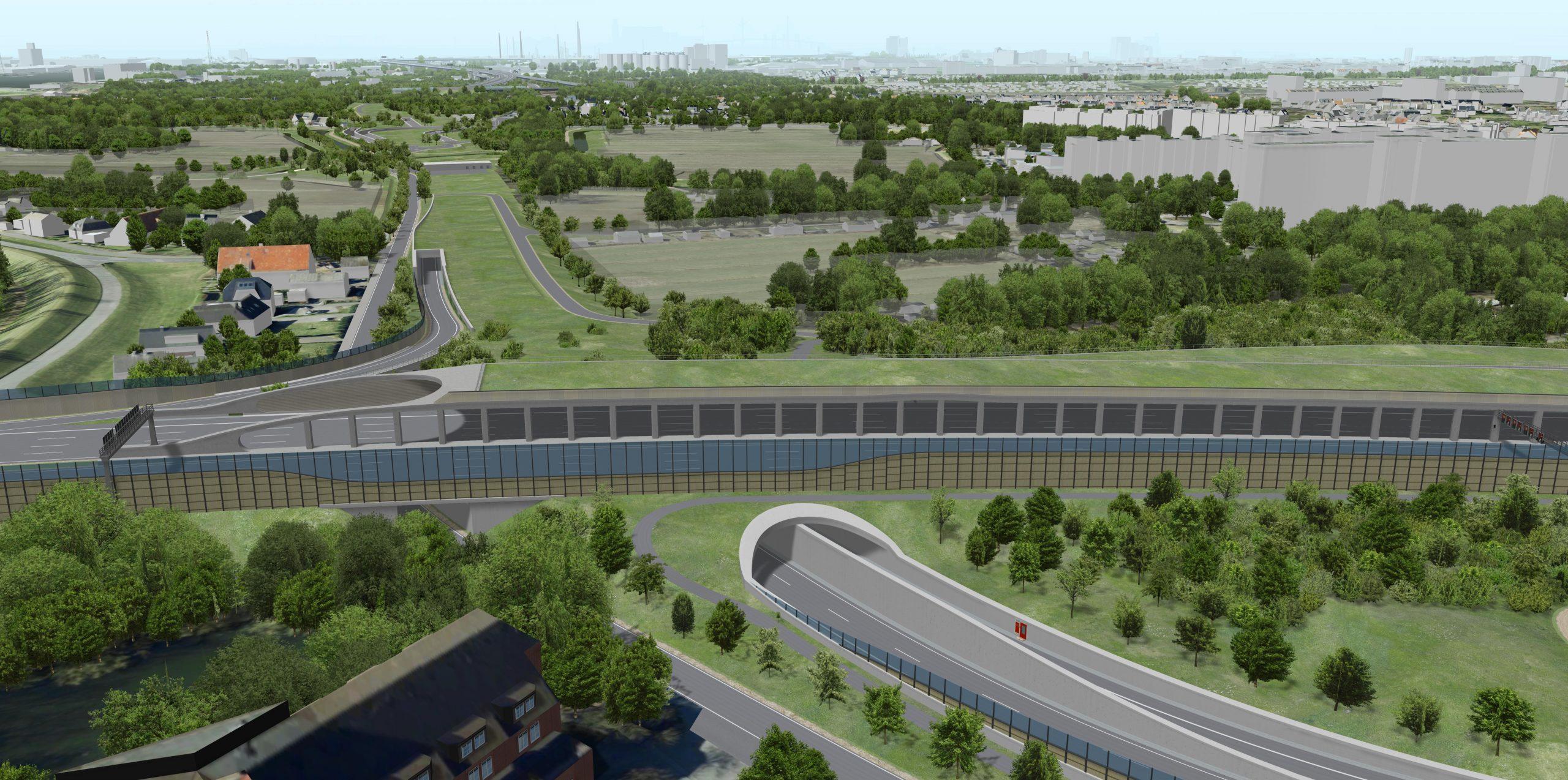Im Wilhelmsburger Teil der Hafenpassage soll ein 14 Kilometer langer Tunnel realisiert werden. Hier der Blick von Stillhorn Richtung Kornweide. Visualisierung: DEGES